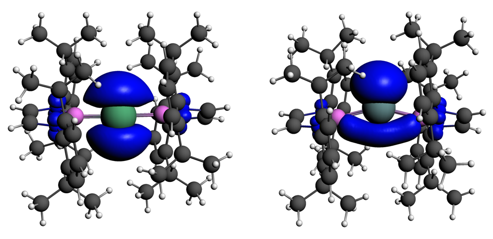Spin densities on stable TlX2 and InX2 radicals